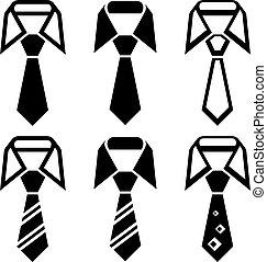symbole, schlips, vektor, schwarz
