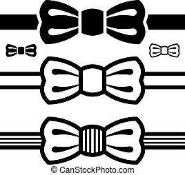 symbole, schlips, vektor, schwarz, schleife