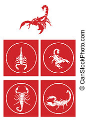 symbole, scorpion, ensemble