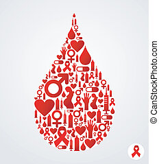 symbole sida, goutte, icônes