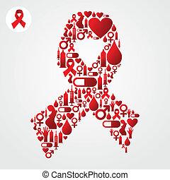 symbole sida, ruban, rouges, icônes