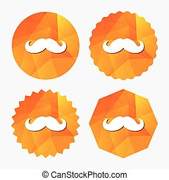 symbole., signe, hipster, coiffeur, icon., moustache
