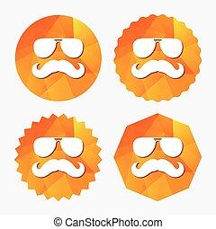 symbole., signe, hipster, icon., moustache, lunettes