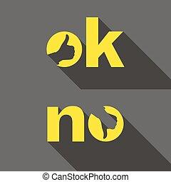 symbole, signs., haut, non, bas, pouce, ok, icons.
