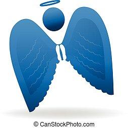 symbole, silhouette, ange, icône