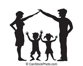 symbole, silhouette, famille