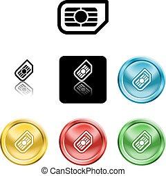 symbole, sim, carte, icône
