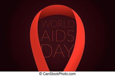 symbole, sombre, arrière-plan., ruban, aides, mondiale, jour, rouges