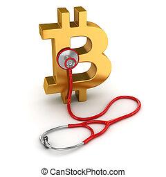 symbole, stéthoscope, bitcoin, rouges