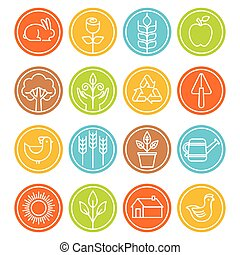 symbole, stil, linear, bauernhof, vektor, poppig, zeichen & schilder, landwirtschaft