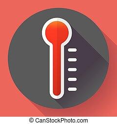 symbole, style., élevé, conçu, température, vector., thermomètre, plat, icône