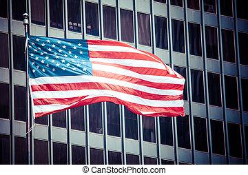 symbole, sur, bleu, américain, nous, moderne, ville bâtiments, drapeau
