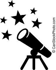 symbole, télescope, étoiles