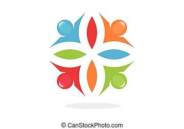 symbole, teamwo, verbunden, leute