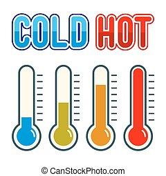 symbole, thermomètre, froid, chaud