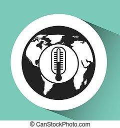 symbole, thermomètre, monde médical, icône