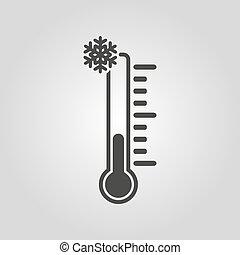 symbole, thermomètre, température, icon., bas