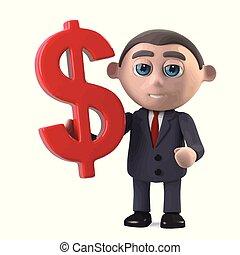 symbole, tient, dollar, devise usa, homme affaires, 3d