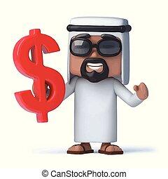 symbole, tient, dollar, nous, cheik, arabe, 3d