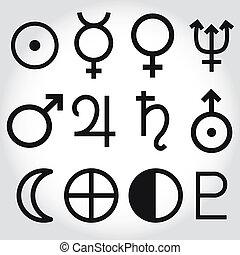 symbole, tierkreis, astrologie