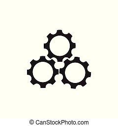 symbole, trois, machine, vecteur, dent, logo