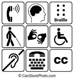 symbole, unfähigkeit, sammlung, zeichen & schilder
