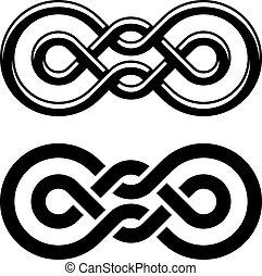 symbole, unité, vecteur, noir, noeud, blanc