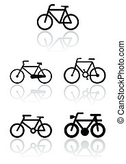 symbole, vélo, set., illustration
