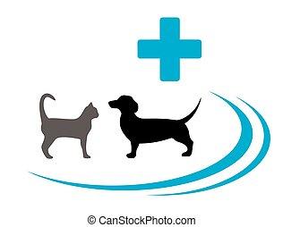 symbole, vétérinaire, silhouette, chien, chat