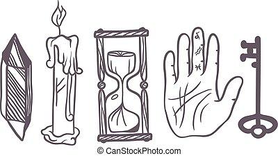 symbole, vecteur, ésotérique, illustration.