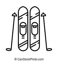 symbole., vecteur, concept, linéaire, icône, illustration, signe, ski, ligne, contour