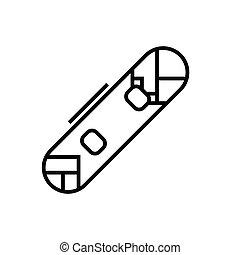 symbole., vecteur, concept, linéaire, icône, illustration, signe, snowboard, ligne, contour