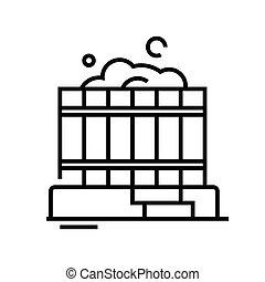 symbole., vecteur, concept, linéaire, icône, sauna,...