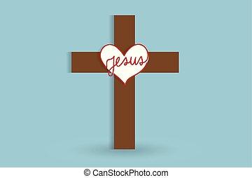 symbole, vecteur, croix