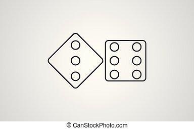 symbole, vecteur, dés, icône, signe
