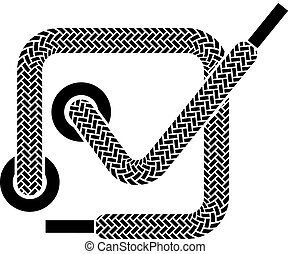 symbole, vecteur, dentelle, checkmark, chaussure