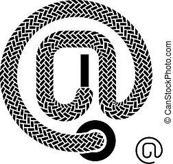 symbole, vecteur, dentelle, email, chaussure