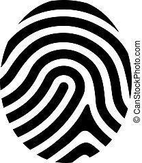 symbole, vecteur, dessin, empreinte doigt