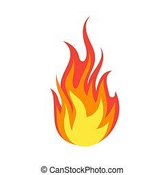 symbole, vecteur, emoji., brûlures, dangereux, énergie, simple, isolé, mis feu, illustration, flamme, créatif, brûler, lumière