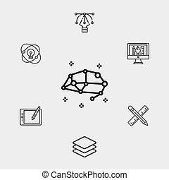 symbole, vecteur, icône, signe, cerveau