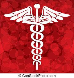 symbole, vecteur, illustration médicale, caducée