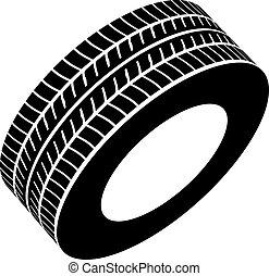 symbole, vecteur, noir, pneu