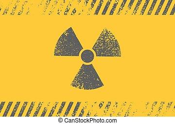 symbole., vecteur, radioactif