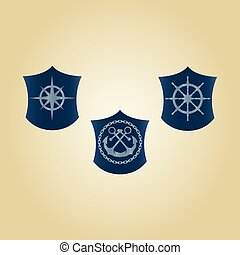 symbole, vektor, satz, see