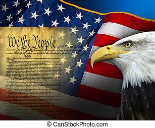 symbole, vereint, -, staaten, patriotisch, amerika
