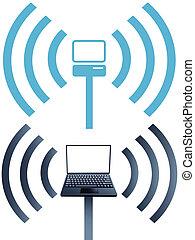 symbole, vernetzung, laptop, wifi, drahtloser computer