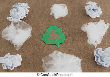symbole, vert, pollution, sacs, concept, groupe, plastique, recycler
