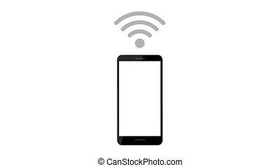 symbole, via, connecter, smartphone, wi-fi