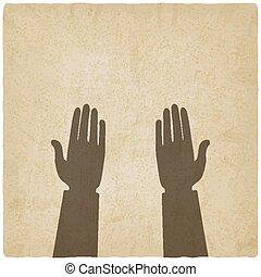 symbole, vieux, fond, mains, prière