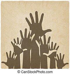 symbole, vieux, haut, fond, mains